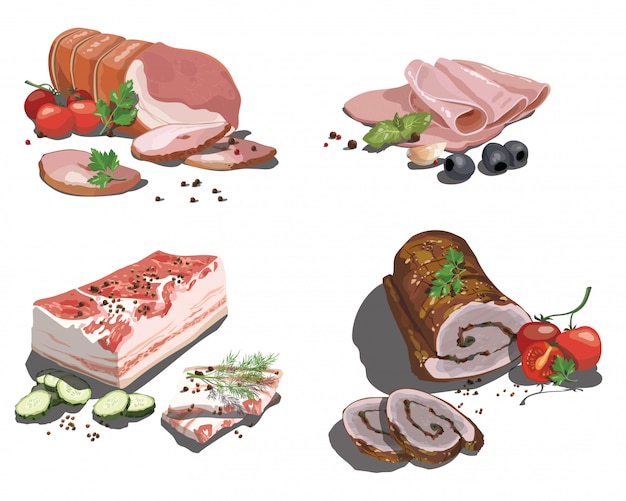 Conjunto de comida dos desenhos animados. coleção de carne crua estilizada. variedade de fatias de carne fresca.