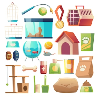 Conjunto de comida e acessórios para pet shop