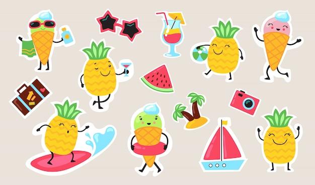 Conjunto de comida e atividades de verão