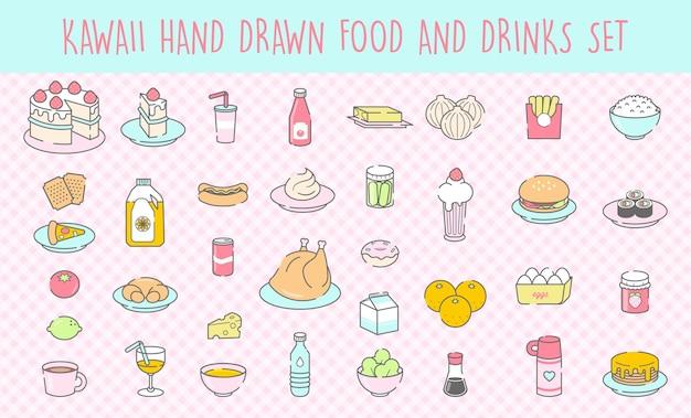 Conjunto de comida e bebidas de kawaii desenhados à mão