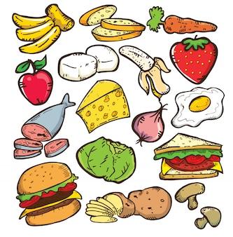 Conjunto de comida em estilo doodle