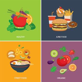 Conjunto de comida em estilo simples