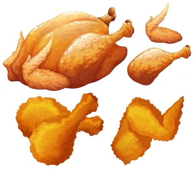 Conjunto de comida feita por frango