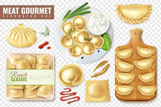 Conjunto de comida gourmet de carne realista com imagens isoladas de bolinhos de massa e ravioli ilustração em vetor