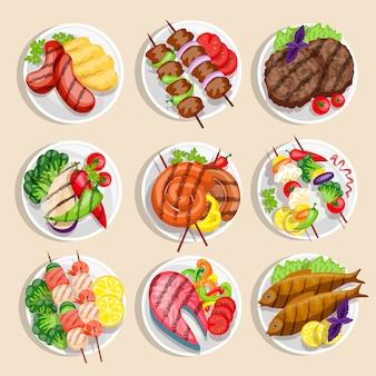 Conjunto de comida grelhada