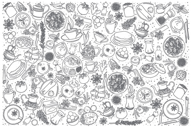 Conjunto de comida indiana de mão desenhada