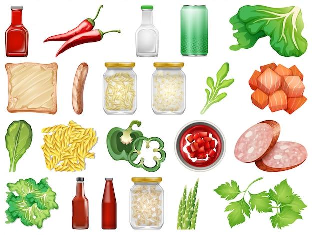 Conjunto de comida isolada