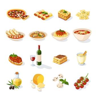 Conjunto de comida italiana