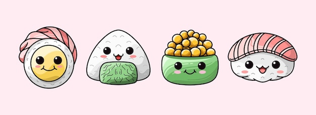 Conjunto de comida japonesa de diferentes tipos