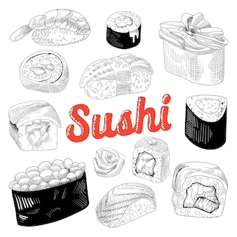 Conjunto de comida japonesa desenhada à mão Vetor Premium