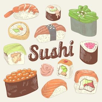 Conjunto de comida japonesa desenhada à mão