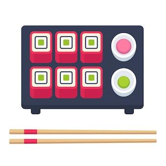 Conjunto de comida japonesa, rolos de sushi com pauzinhos e acessórios.