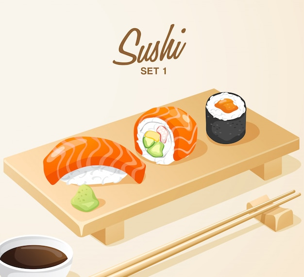 Conjunto de comida japonesa: sushi misto definido na placa de madeira
