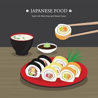 Conjunto de comida japonesa tradicional, sushi roll com sopa de missô e molho de wasabi. ilustração dos desenhos animados