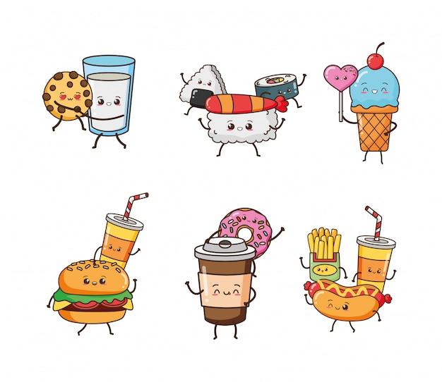 Conjunto de comida kawaii feliz, ilustração