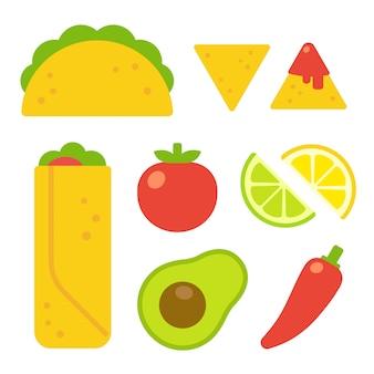 Conjunto de comida mexicana em estilo cartoon plana. taco e burrito, nachos com salsa, ingredientes tradicionais de tomate, abacate e pimenta.