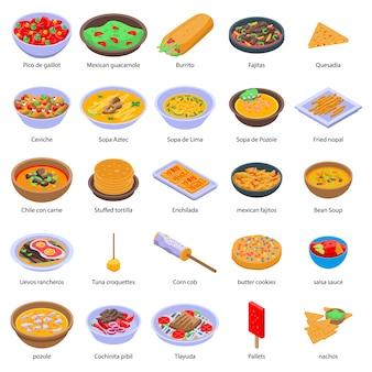 Conjunto de comida mexicana, estilo isométrico
