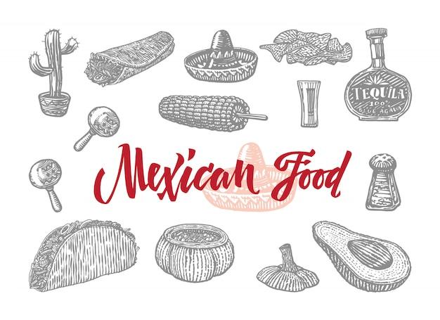 Conjunto de comida mexicana gravada