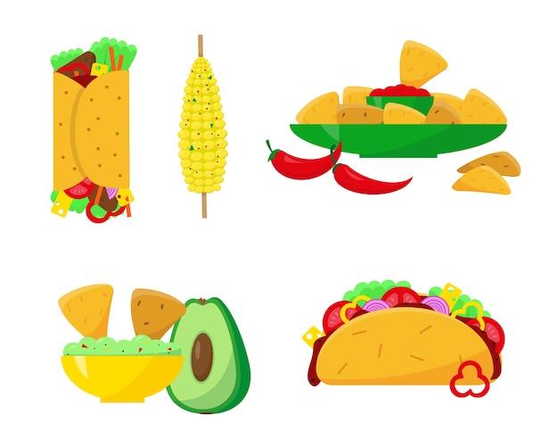 Conjunto de comida mexicana isolado no branco