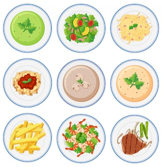 Conjunto de comida na aba