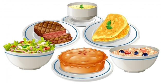 Conjunto de comida no prato