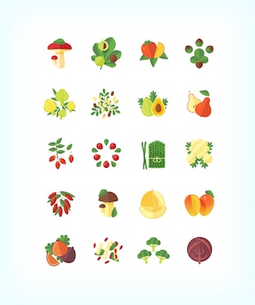 Conjunto de comida orgânica vegetariana. conjunto de ícones de frutas e legumes.
