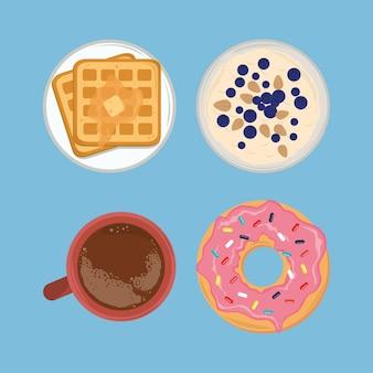 Conjunto de comida para café da manhã
