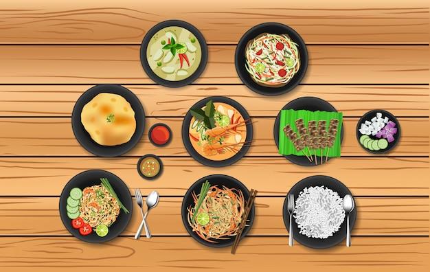 Conjunto de comida popular tailandesa