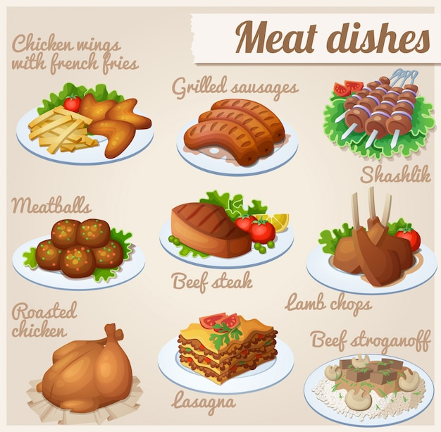 Conjunto de comida pratos de carne.