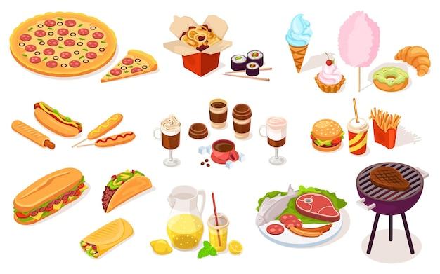 Conjunto de comida rápida e de rua.