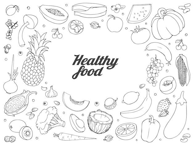 Conjunto de comida saudável. mão desenhada esboços simples ásperos de diferentes tipos de legumes e frutas.
