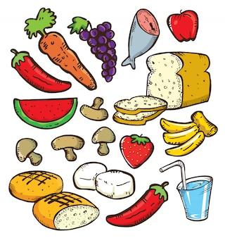 Conjunto de comida saudável no estilo doodle
