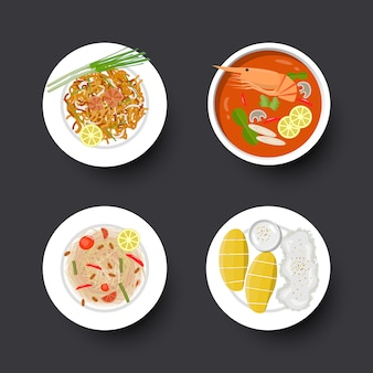 Conjunto de comida tailandesa de tradição