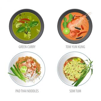 Conjunto de comida tailandesa famosa