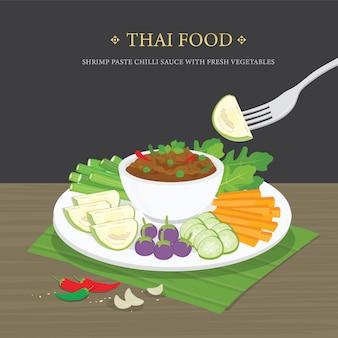 Conjunto de comida tailandesa tradicional, pasta de camarão molho de pimentão (nam prik ka pi) com legumes frescos. ilustração dos desenhos animados