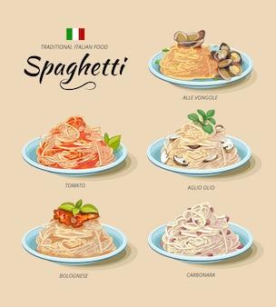 Conjunto de comida tradicional italiana