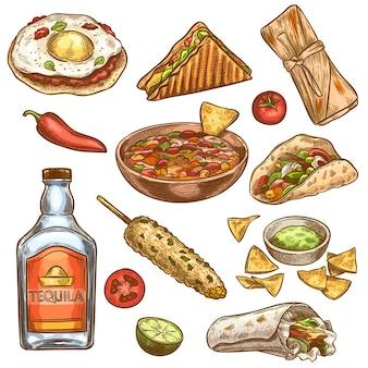 Conjunto de comida tradicional mexicana