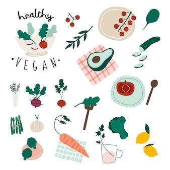 Conjunto de comida vegan saudável