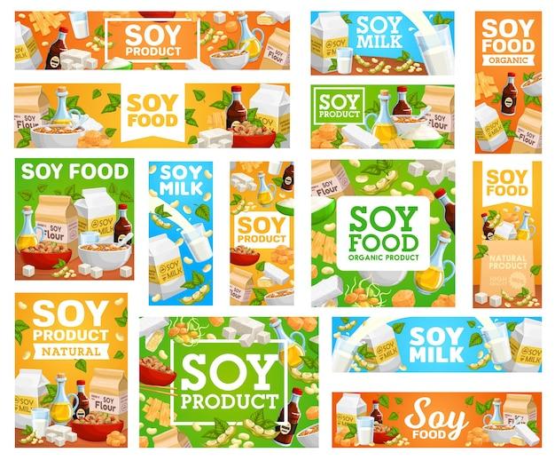 Conjunto de comida vegetariana de banners de soja