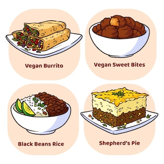 Conjunto de comida vegetariana de estilo desenhado à mão