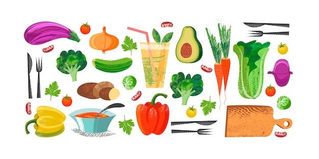 Conjunto de comida vegetariana de vegetais desenhados à mão deliciosos vegetais coloridos com desenhados à mão