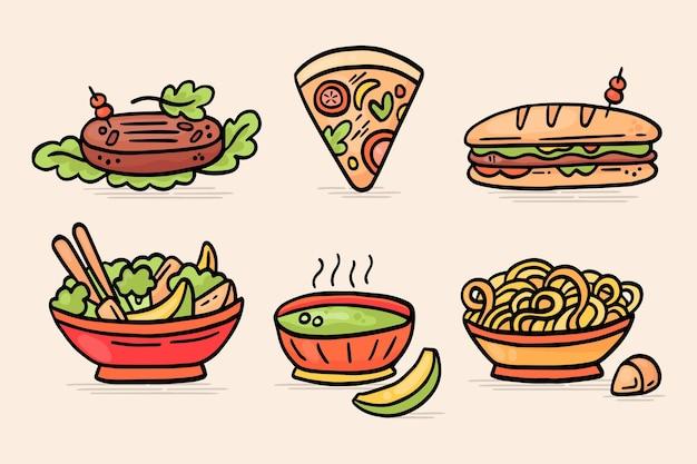 Conjunto de comida vegetariana desenhada à mão