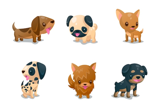 Conjunto de companheiros fofos de cachorro