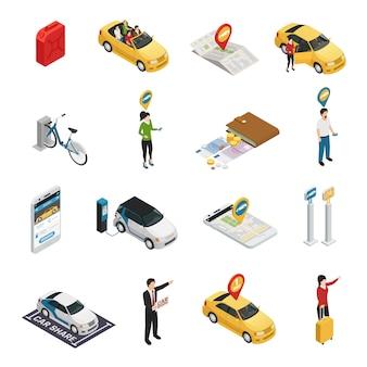Conjunto de compartilhamento de carro com compartilhamento de carro carsharing