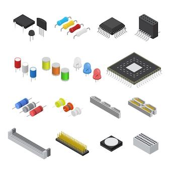 Conjunto de componentes de placa de circuito eletrônico de computador vista isométrica para a web