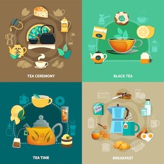 Conjunto de composição de chá