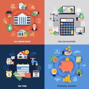 Conjunto de composição de design de imposto