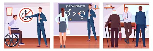 Conjunto de composição de discriminação de trabalhadores com base na deficiência de gênero e idade