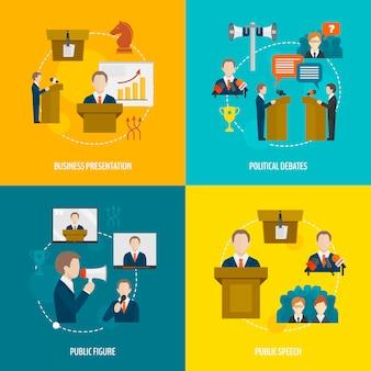 Conjunto de composição de elementos planos de falar em público