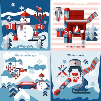 Conjunto de composição de elementos planos de inverno